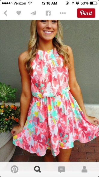 dress colorful summer pink blue orange love rainbow floral tie dye tie dye dress