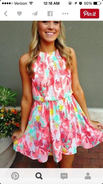 dress colorful summer pink blue orange love rainbow floral tie dye tie dye dress