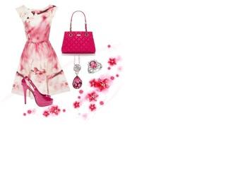dress pink flowers beautiful cherry blossom summer dress bag