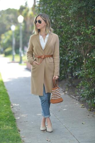 cupcakes and cashmere blogger coat blouse belt jeans shoes bag make-up
