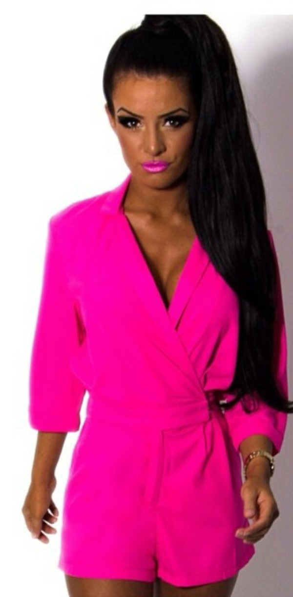 BETH ROMPER - SILK DRESSES - PRINTED DRESSES - SOLID - NEON PINK ...