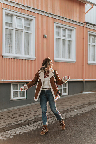 wish wish wish blogger hat coat sweater jeans shoes shearling jacket beret winter outfits boots