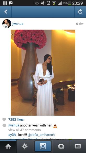 white dress low cut long sleeves belt