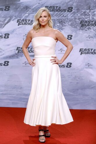 dress charlize theron strapless sandals white white dress red carpet dress