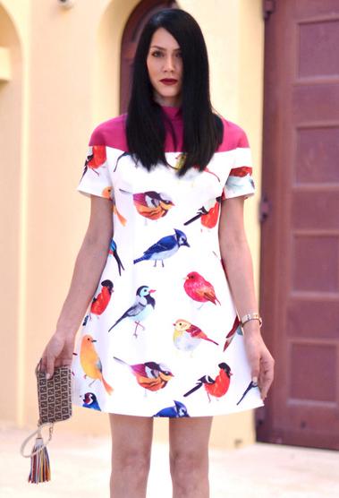 Multi Day Dress - Bqueen Bird Printing Slim Hem | UsTrendy