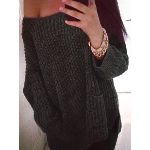 Sweater: knitwear, knitted sweater, off the shoulder, off ...