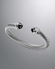David Yurman Cable Classics Bracelet with Black Onyx and Diamonds - Neiman Marcus