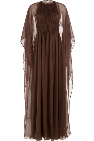 cape chiffon silk brown top