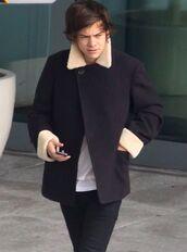 coat,harry styles,black,fur,one direction