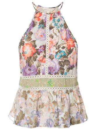 top women floral cotton print silk purple pink