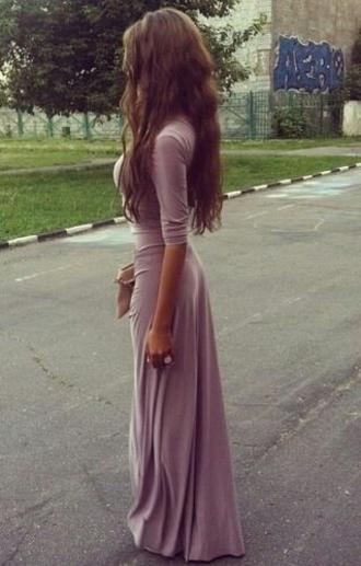 dress mauve long sleeve dress
