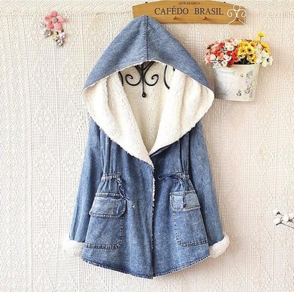 jacket blue jacket denim denim jacket winter jacket wool hoodie trendy