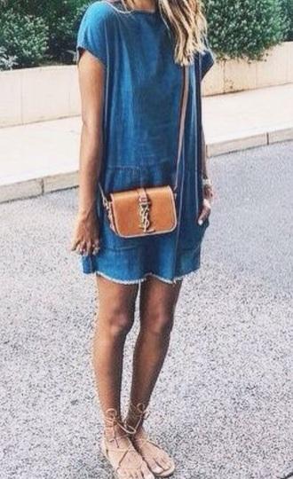 dress denim jeans romper purse sandals style vintage blonde hair blue jean dress blue dress denim dress