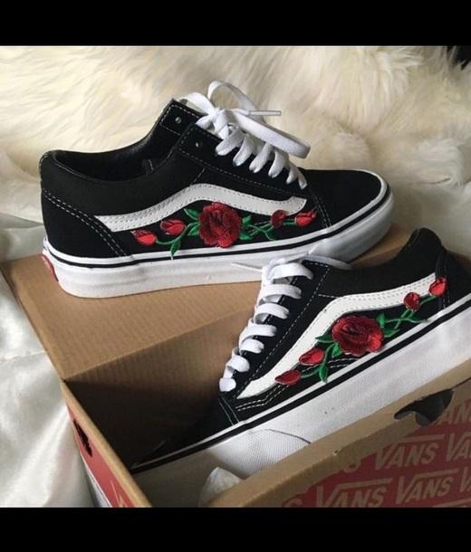 Shoes Vans Printed Vans Flowers Embroidered Black