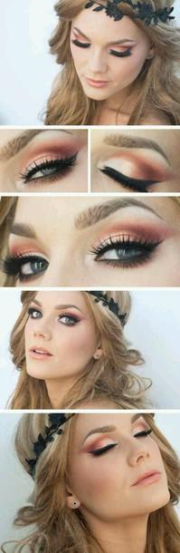 make-up linda hallberg coral eyes make-up orange beautiful eye shadow eye makeup