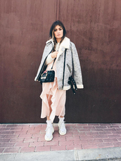 madame rosa,blogger,jacket,dress,sweater,shoes,socks,bag,jewels,sneakers,fall outfits,crossbody bag
