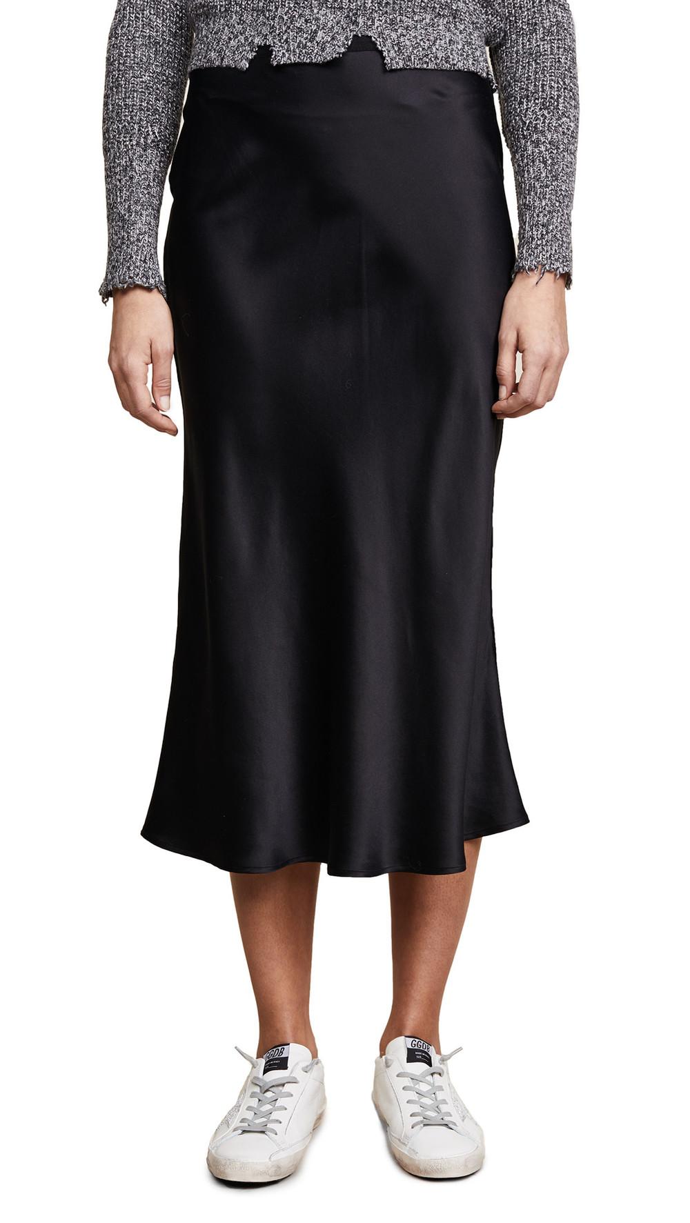ANINE BING Bar Silk Skirt in black