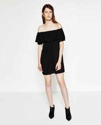 dress black ruffle dress ruffle off the shoulder off the shoulder dress summer summer outfits summer dress black dress little black dress