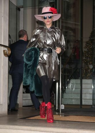 dress metallic silver lady gaga shoes