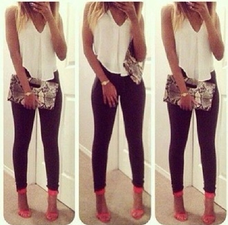 tank top jewels bag blouse white white tank white loose tank loose tank top cute white top jeans