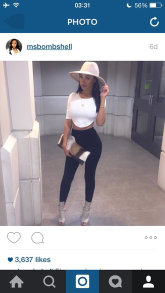 top colorful bag clutch white black clear clutch leggings hat floppy hat
