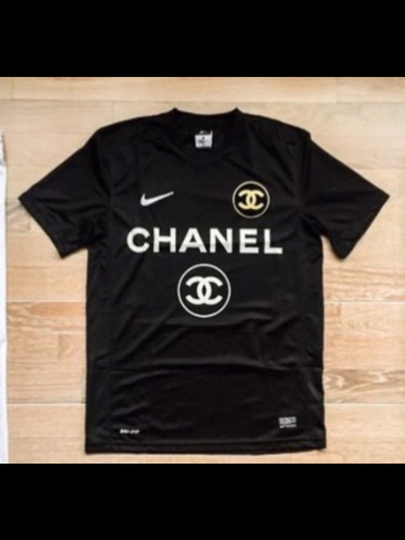 t-shirt chanel shirt nike chanel t-shirt nike top black t-shirt