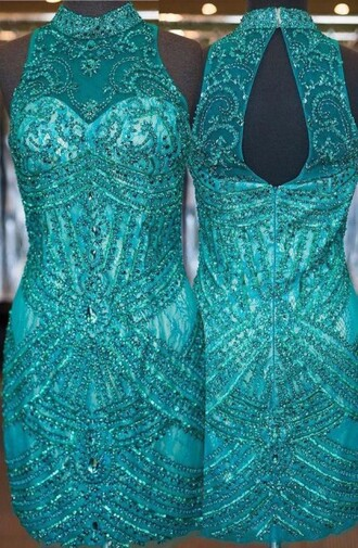 dress luxurious sheath high neck sleeveless open back turquoise homecoming dress with beading homecoming dress prom dress