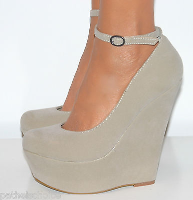 NUDE HIGH HEELS WEDGE PLATFORM SHOE SANDAL ANKLE STRAP EVENING