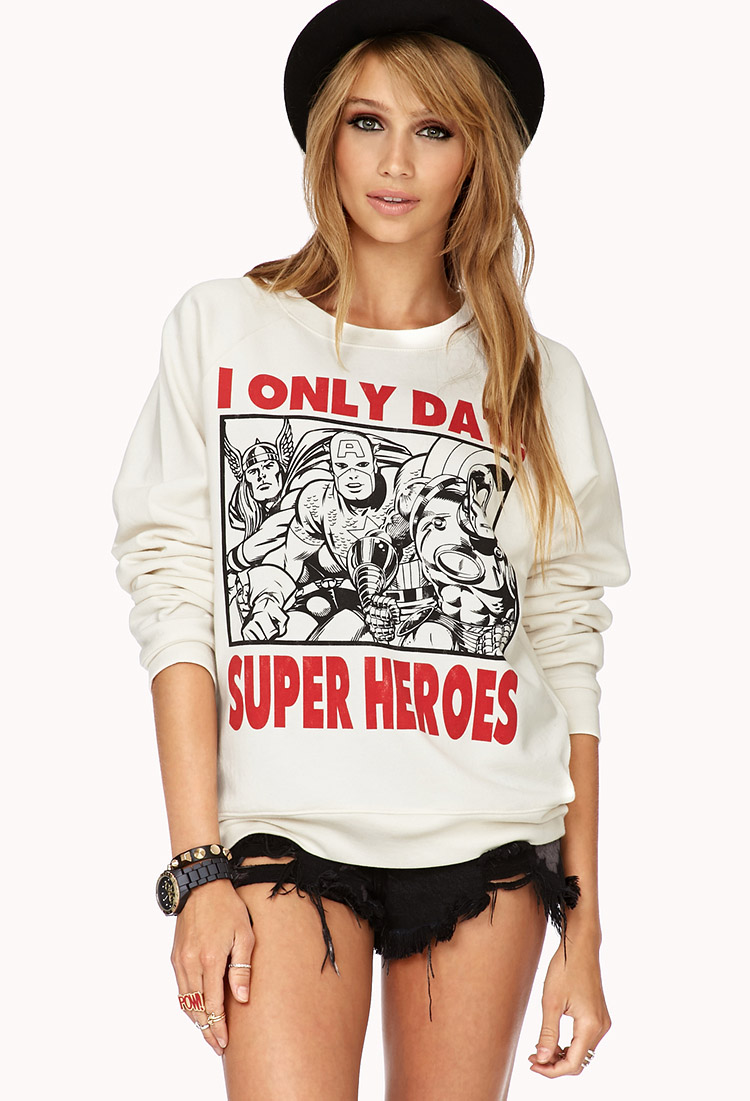 Quickview: I Only Date Super Heroes Sweatshirt | F21 - 2000050606