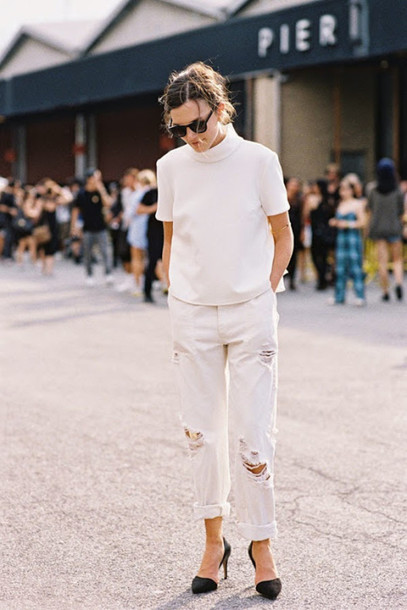 vanessa jackman blogger mom jeans turtleneck ripped jeans top shirt tank top sweater shorts jeans white turtleneck top white jeans white ripped jeans cuffed jeans sunglasses black sunglasses streetstyle