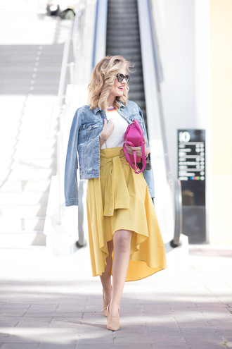 mi aventura con la moda blogger jacket skirt top bag shoes yellow skirt denim jacket shoulder bag spring outfits