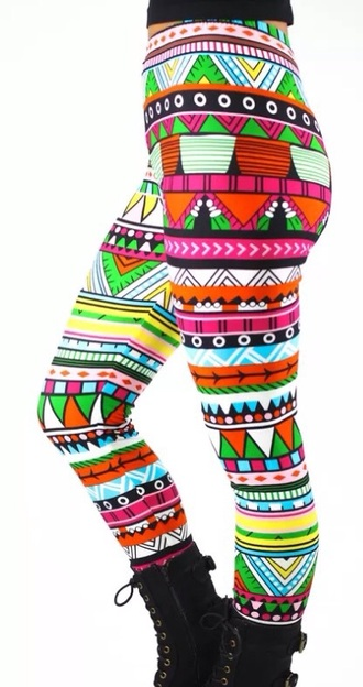 leggings tights printed leggings sweet aztec pants black boots colorful red lime sunday