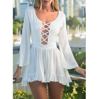 dress pure white classic lace loose sexy cute girly tendy style stylish angel retro vintage lace dress gorgeous gorgeous dress long sleeves pure color vintage dress