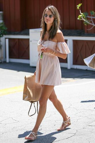 dress off the shoulder off the shoulder dress summer dress summer outfits sandals alessandra ambrosio model off-duty streetstyle flat sandals