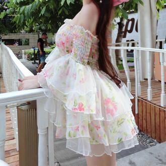 dress floral cute kawaii fashion style sum white ruffle chiffon off the shoulder summer dress adorable outfit short dress