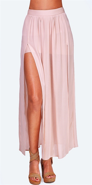 Hope - Pleated Slit Maxi Skirt - Nude - Big Drop NYC