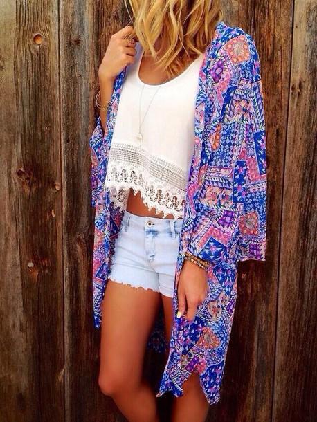 blouse coat top cardigan jacket kimono shorts brigh print printed kimono white top white crop tops