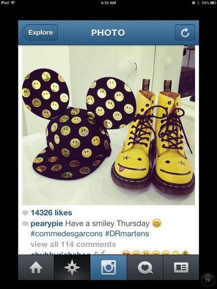 smiley face shoes yellow hipster black disney hat combat boots boots mickey mouse mickey disney clothes rain boots