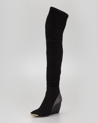 Rachel Zoe Nico Over-the-Knee Wedge Boot, Black - Neiman Marcus