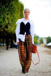 pants,tumblr,printed pants,tartan,plaid,wide-leg pants,shirt,white shirt,top,black top,bag,orange