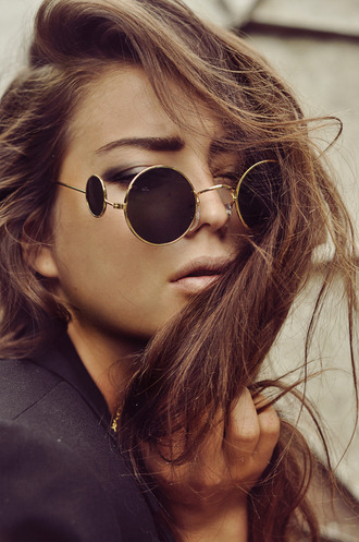 sunglasses glasses black sunglasses edgy vintage shades gold lennon shades chanel circle black and white round sunglasses 90s style hipster cool miu miu wildfox cool glasses round frame glasses