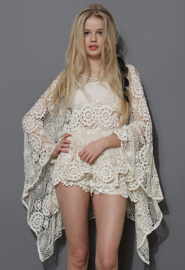 coat boho day floral crochet pincho