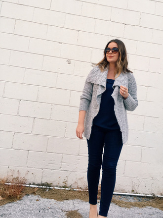 a pretty penny blogger sweater tank top jeans sunglasses cardigan skinny jeans winter outfits