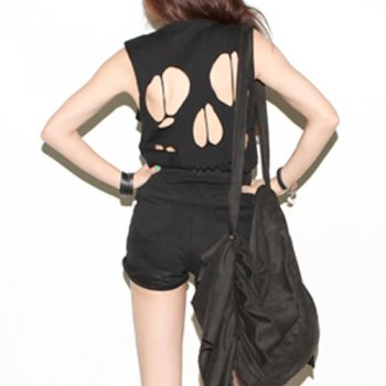 Open Back Cut Out Skull T-shirt Top - Black - Chapnlle