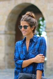 blouse,hemd,shirt,blue checked shirt,plaid,top