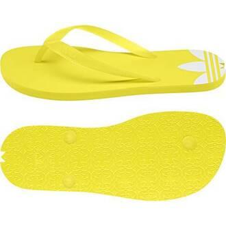 shoes adidas yellow flip-flops flat sandals