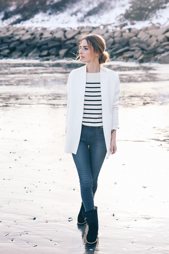 prosecco and plaid blogger jeans white blazer striped sweater