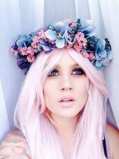 hair accessory,pastel,pastel hair,pink hair,hair dye,flower crown,spring accessory,festival