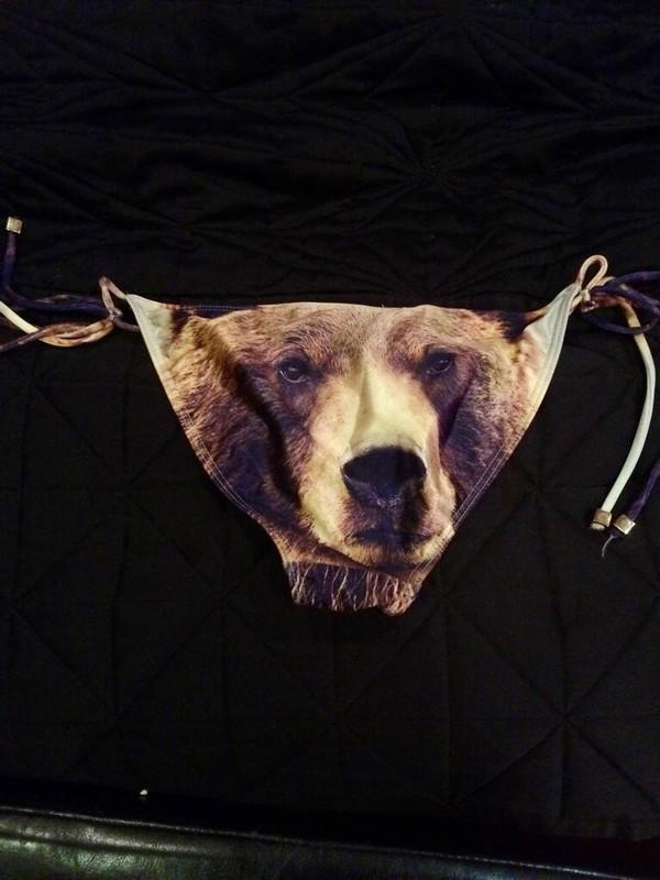 swimwear bear animal face print