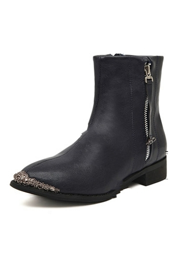Metal Toe Zipper Ankle Boots In Black [FABI1427] - PersunMall.com